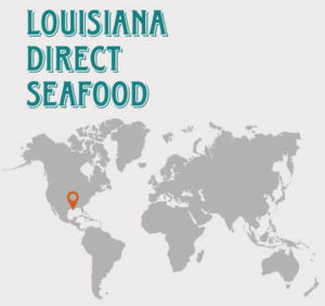 Louisiana Direct Seafood world map in gray with orange marker at Louisiana Gulf Coast.