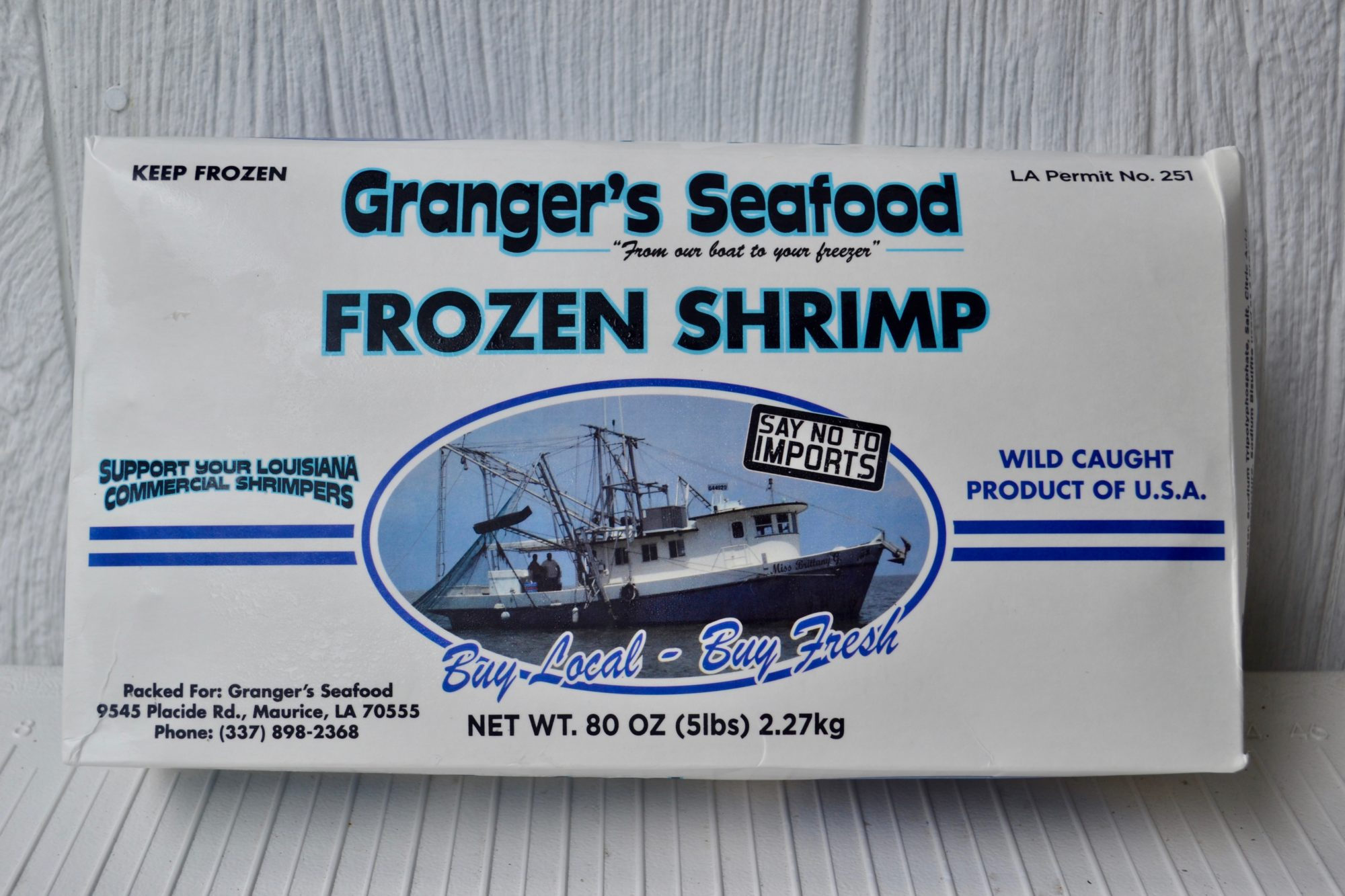 five pound box frozen shrimp from Granger Seafood